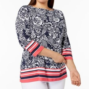 NWT Plus Size Charter Club Printed Boat-Neck Top